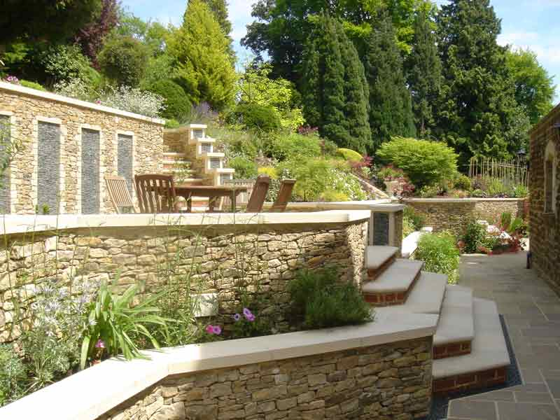 Stone garden walls in Guildford
