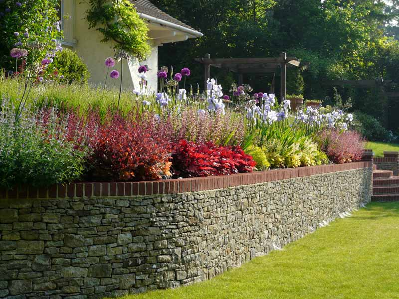 Stone wall with planting