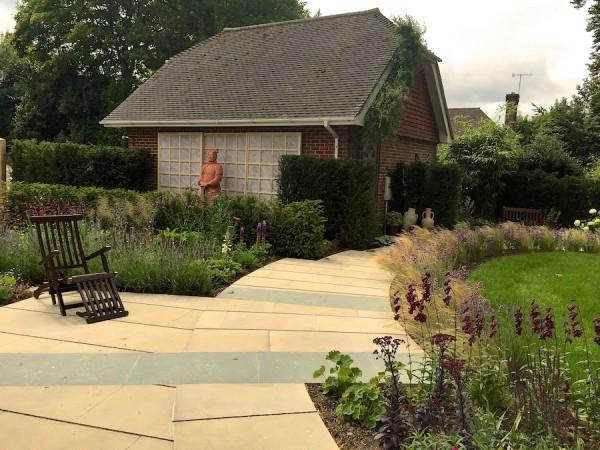 Radial paving & planting Haslemere - PC Landscapes on symmetrical garden design, linear garden design, vertical garden design, asymmetrical garden design, rectangular garden design,
