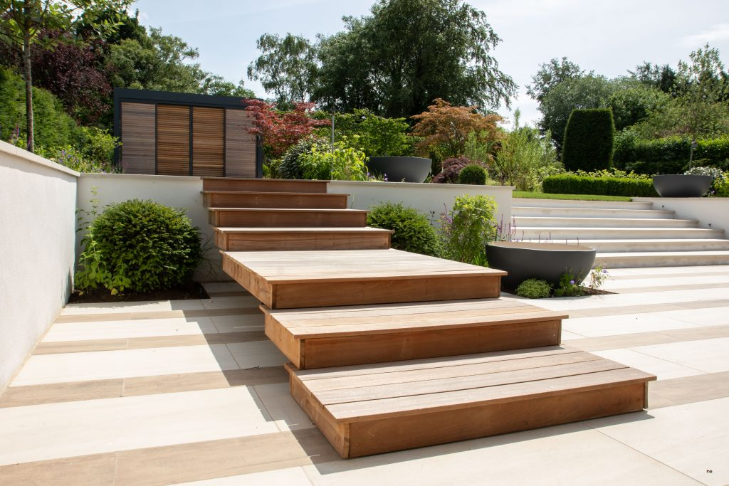 Winchester garden design steps to garden office