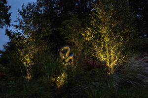 Sculpture and lighting design in Surrey Garden