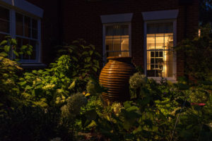 Lighting design and water feature in Surrey Garden