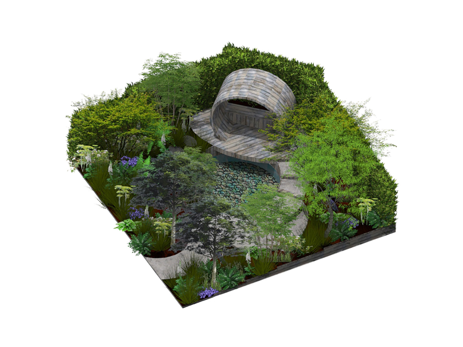 Hampton Court Flower Show garden designed by David Green and built by PC Landscapes
