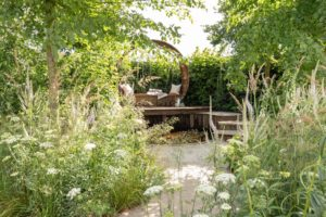 Stop and Pause Garden at Hampton Court Flower Show 2019. PC Landscapes for Dave Green