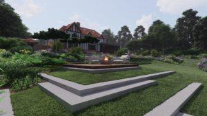 PC Landscapes multilevel Garden in Surrey countryside