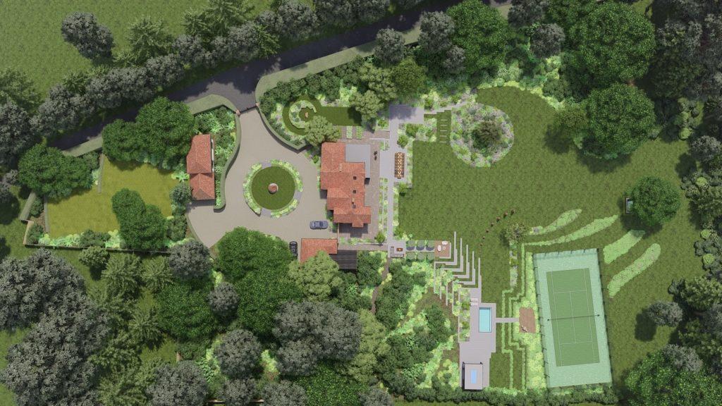 Drone View of Surrey Garden, Design by PC Landscapes Ltd.