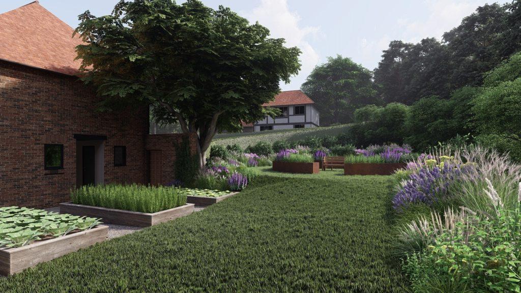 Kitchen Garden in Surrey countryside, design by PC Landscapes Ltd.
