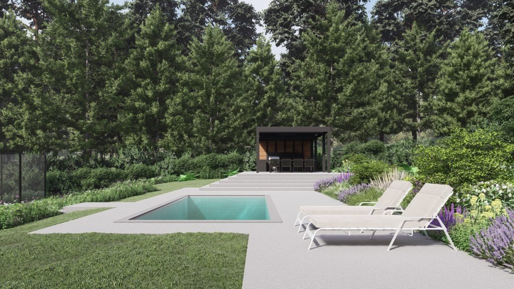 Swimming Pool and Outdoor Kitchen in Farnham Garden, design by PC Landcapes ltd.