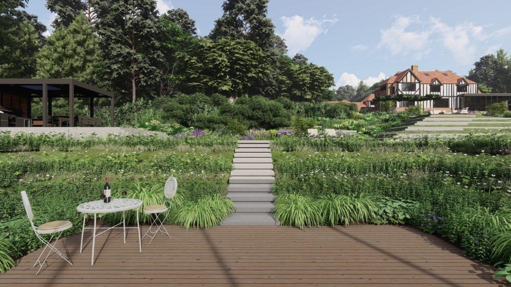 Steps to Tennis Court, Garden Design by PC Landscapes