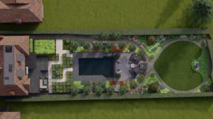 Bird-eye view of contemporary garden in Guilford